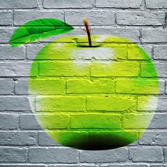 Fototapeta Owoce Graffiti, pomme verte