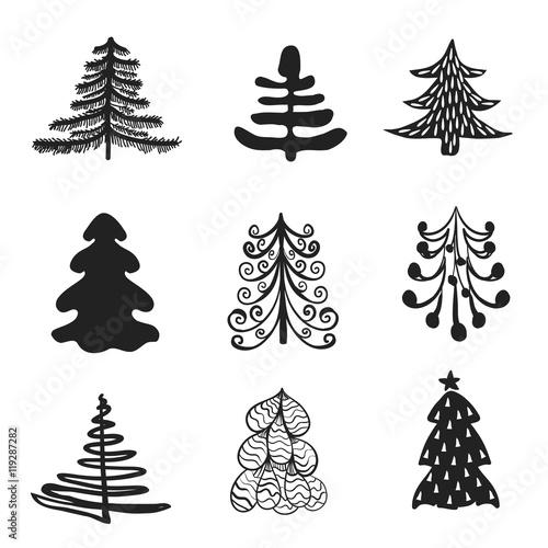 Fototapety, obrazy: set of Christmas trees
