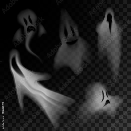 Fotografie, Obraz  Ghost silhouette isolated on transparent background.
