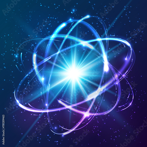 Leinwand Poster Vector shining neon lights atom model