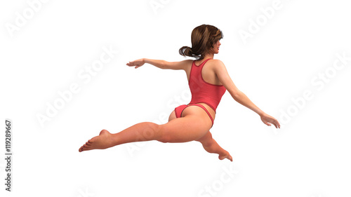 Photo Stands Gymnastics Girl in red costume doing gymnastics, gymnast training on white background