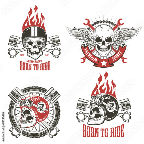 Speed racer. Born to ride. Set of emblems with human skulls in r Canvas Print