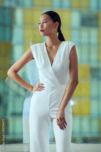 Photo  Young Slim Beautiful Asian Woman Fashion Model Posing Wearing White