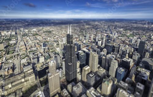 Staande foto Sydney Chicago downtown skyscrapers overhead view