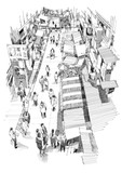 ręcznie rysowane szkic ludzi chodzących w targowej ulicy, ilustracja, rysunek - 119294476