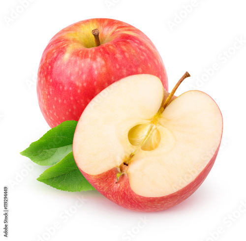 Fotografie, Obraz  Isolated cut red apple over white background with clipping path