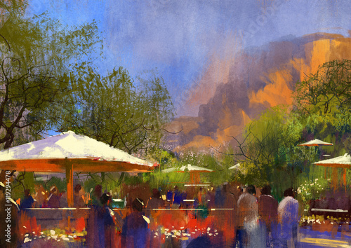 people walking in the park,illustration painting