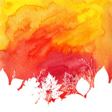 Orange Watercolor Autumn Background With White Leaves Silhouettes