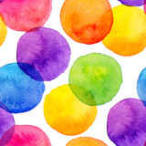Bright rainbow colors watercolor painted circles seamless pattern - 119298290