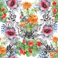 Fototapeta Beautiful Watercolor Summer Garden Blooming Flowers Seamless Pattern.