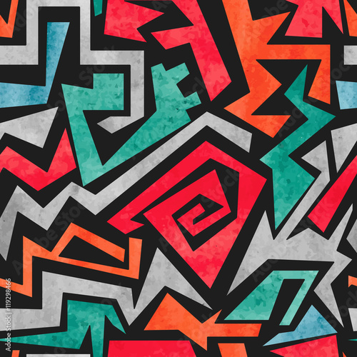 Watercolor graffiti seamless pattern. Vector colorful geometric abstract background in red, orange and blue colors.