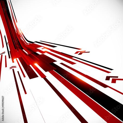 Plakat Abstrakcjonistyczny wektorowy czarny i czerwony perspektywiczny techno tło