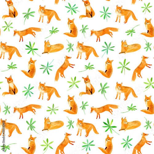 Cotton fabric Fox and plants seamless pattern.Watercolor hand drawn illustration.White background.