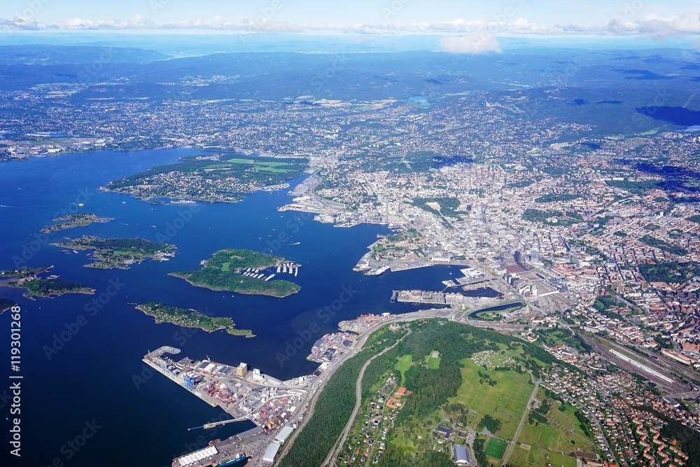 Fotografie, Tablou  Aerial view of the Oslo area in Norway