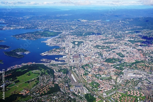 Aerial view of the Oslo area in Norway Tablou Canvas