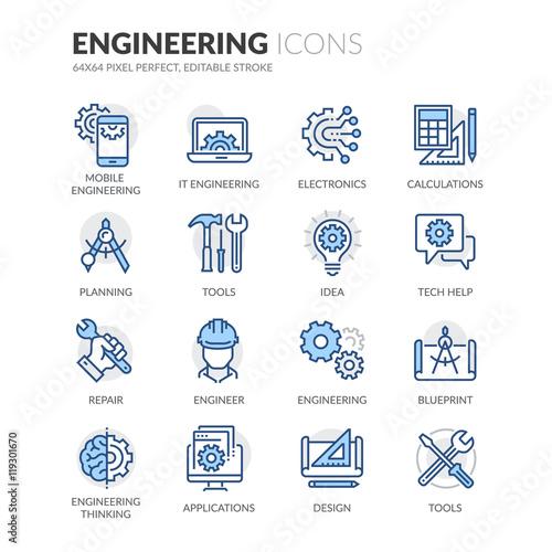 Fotografie, Obraz  Line Engineering Icons