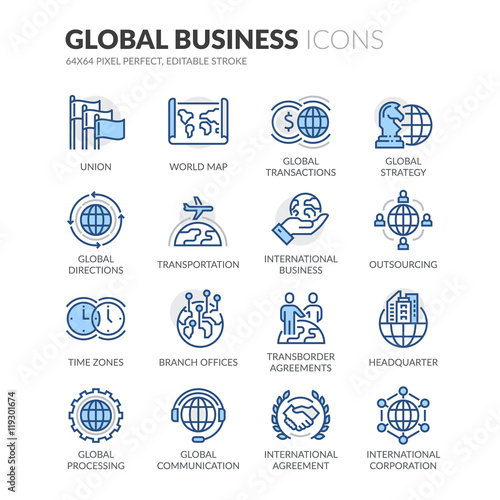 Line Global Business Icons Wall mural