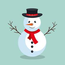 Snowman Christmas Character Icon