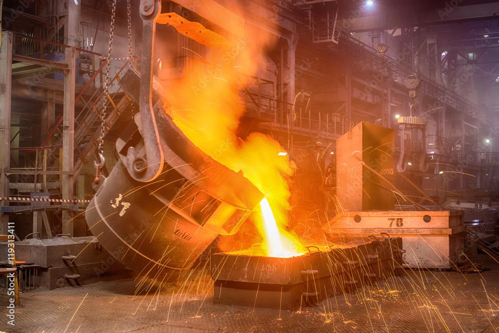 Fototapety, obrazy: NOVOKUZNETSK, RUSSIA - JUNE 26, 2016: Casting ferroalloy factory