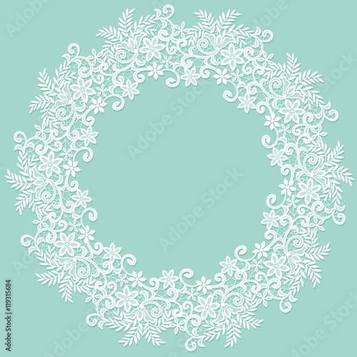 Valokuva  White lace frame