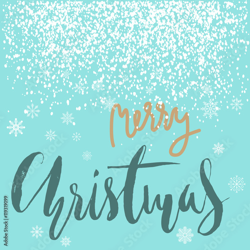 In de dag Retro sign Merry Christmas gold and white lettering design on blue background with white snowflakes.