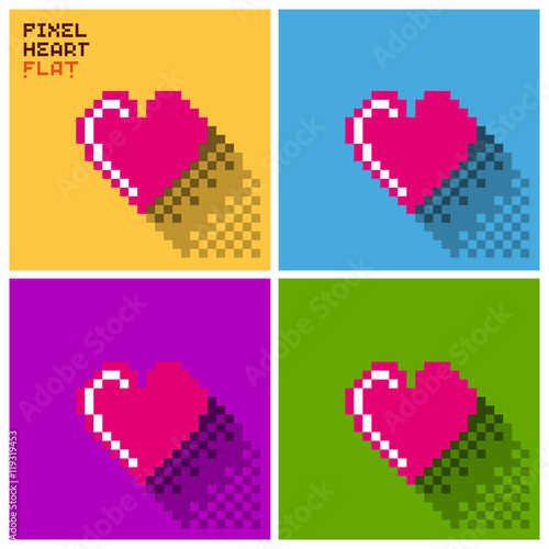 Fotografía  Set of pixel Heart in flat design, pixelated illustration