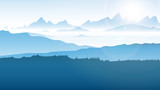 góry we mgle wektor
