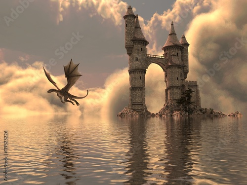 Zdjęcie XXL 3D Ilustracja Zamku Na Wodzie I Smoka
