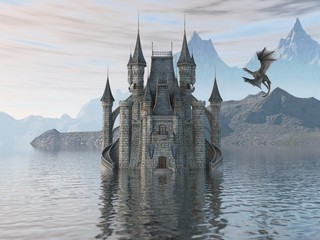 Naklejka 3D Illustration Of A Castle On The Water And Dragon