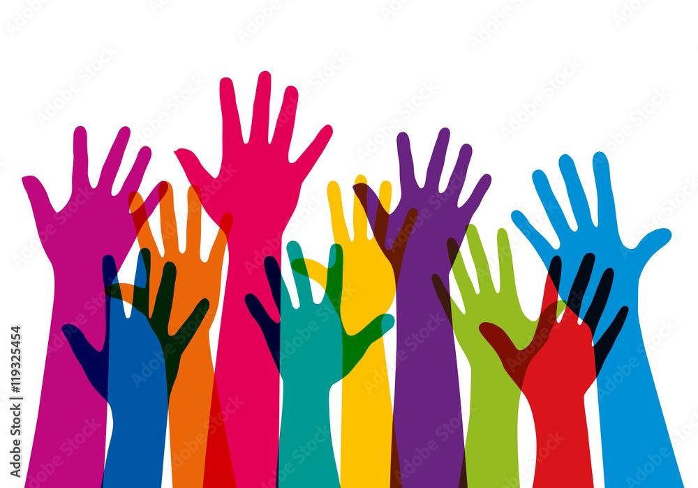 Fototapeta Concept de l'adhésion avec un groupe de mains levées de couleurs différentes, pour symboliser à la fois, l'unité et la diversité.