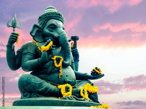 Ganesha in front of beautiful sky