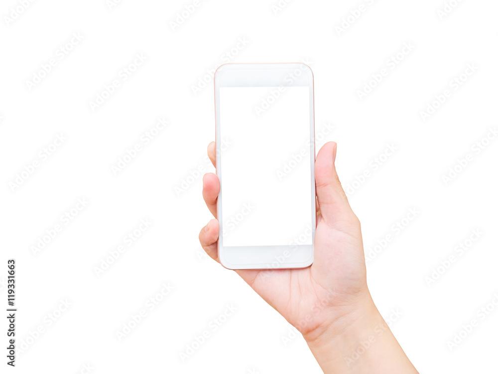 Fototapeta Isolated female hand holding mobile phone