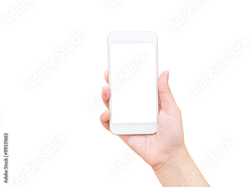 Obraz Isolated female hand holding mobile phone - fototapety do salonu