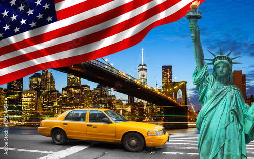 Poster New York TAXI New York City with Liberty Statue ad yellow cab