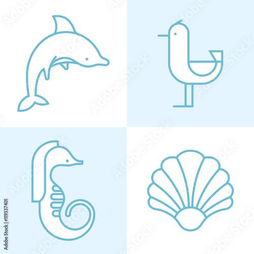 Fotografija  Set of four different sea animal silhouettes, isolated.
