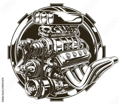 Canvas Print Cool detailed hot road engine with skull tattoo