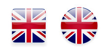 The Union Jack Flag Vector Icon Set. Glossy Round Icon And Square Icon With Flag Of The UK On White Background.