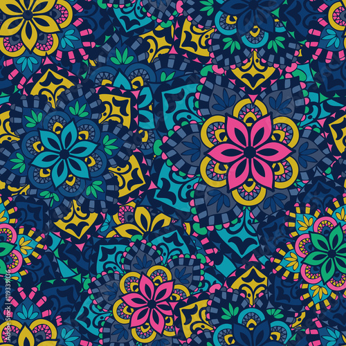 Deurstickers Marokkaanse Tegels Seamless pattern. Vintage decorative elements.