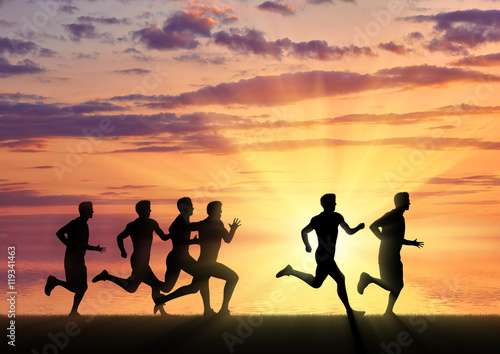 Fototapety, obrazy: Running sports. Competition athletes runners