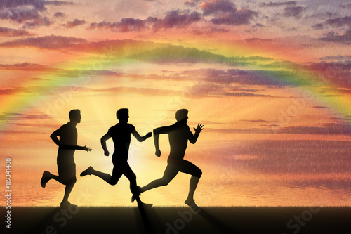 Fototapeta Running sports. Competition athletes three runners obraz na płótnie
