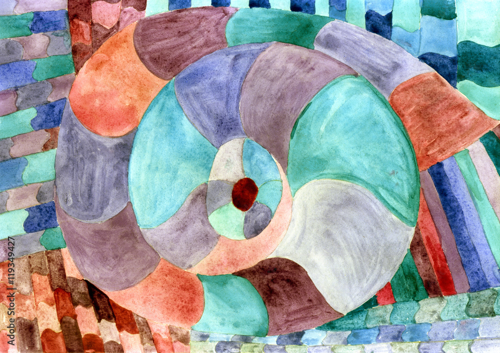 Sea theme watercolor. Sea Picasso. Shellfish snail spiral in shades of green brown watercolor abstract