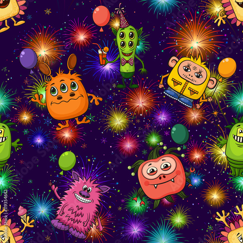 Cotton fabric Seamless Background for Your Holiday Party Design, Different Cartoon Monsters, Colorful Tile Pattern with Cute Funny Characters and Bright Fireworks. Vector