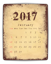 2017 Tin Plate Calendar February