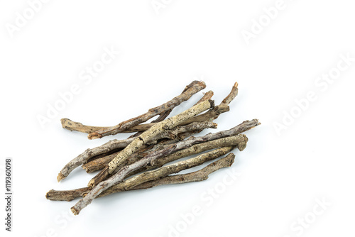 Photo  Pile of dry twigs on white background