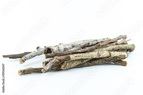 Pile of dry twigs on white background Canvas Print