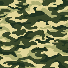 Panel Szklany Militaria Army camouflage seamless pattern, green colors. Vector illustration