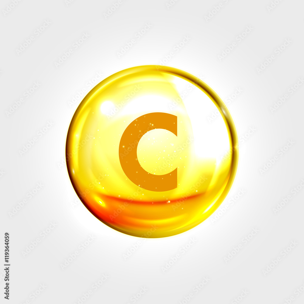 Fototapeta Vitamin C gold icon. Ascorbic acid pill capsule