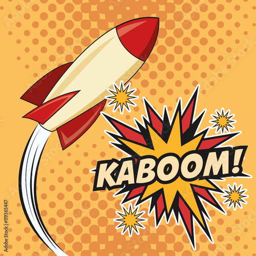 Fotobehang Pop Art rocket spaceship kaboom boom explosion cartoon pop art comic retro communication icon. Colorful pointed design. Vector illustration