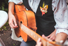 Close Up Finger Of Guitarist W...