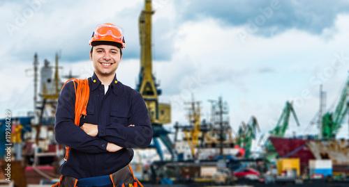 Q Marine Technology Harbor worker portrait...